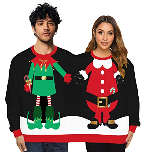 ODOKEI Maglione Siamese 3D Maglioni di Natale Maglione Natalizio a Due posti con Maniche Lunghe per Uomo e Donna Maglione Siamese per Coppie Natalizio Brutto Maglioni(Taglia Unica)