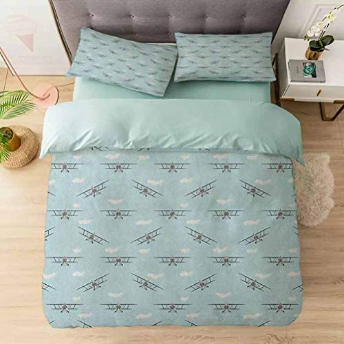 3-Piece Duvet Cover Set, Old Aircraft Biplanes in Blue Sky Speedy Propellers Wings Retro Design, Soft Brushed Microfiber Fabric - Shrinkage and Fade Resistant - Easy Care, Pale Blue Black White