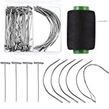 Boao 70 Pieces Wig Making Pins Needles Set, Wig T Pins and C Curved Needles with 328 Yard Thread for Wig Making, Blocking Knitting, Modelling and Crafts