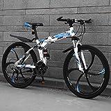 Vélo De Montagne Pliant pour Adulte, Vélo De Roue De 26 Pouces À 6 Rayons, Cadre en Acier Au Carbone À Queue Dure, Fourche À Suspension Audacieuse, Frein À Disque Double,Blue-27 Speed