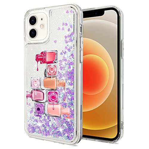 Mixroom - Custodia Cover Case per iPhone 6 con Brillantini Glitter in Gel Liquidi Quicksand Lilla Fantasia SMALTI Codice 416