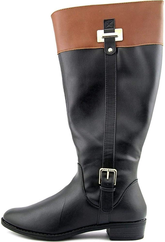 Karen Scott Womens Deliee Almond Toe Knee High Fashion, Black Cognac, Size 6.0