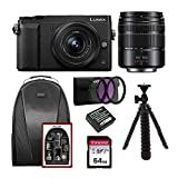 Panasonic LUMIX GX85 Mirrorless Camera with 12-32mm and 45-150mm Lens (Black) Bundle with Backpack, 64GB SD Card, 1025mAh Battery and Accessories (8 Items)