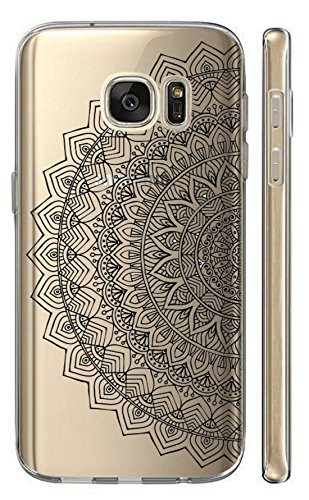 Hülle für Samsung Galaxy S7 G930F Softcase Cover Backkover TPU Schutzhülle Slim Case (2503 halbes Mandala Schwarz)