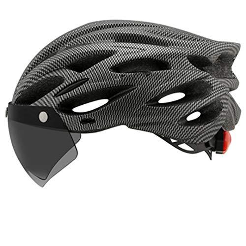 Cascos de Ciclismo Moldeado intergrally Cascos de Seguridad de la Seguridad con la luz Trasera con Las Gafas Visor Mountain Bike Casco Gray 54-61 cm