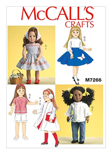McCall 's Craft Easy Schnittmuster 726645,7cm Retro Puppe Kleidung + gratis Minerva Crafts Craft Guide