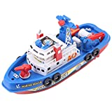 Fire Boat Toy Water Spraying Ship Model with Sound & Flash Light