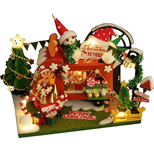 HNLSKJ DIY Kit de casa de muñecas de Navidad en Miniatura, DIY 3D Miniatura Casa de Navidad Modelo Conjunto de artesanía, Casa de muñecas de Madera Sala de cabaña con Luces LED de Muebles ggsm