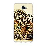 Fubaoda Hülle für Huawei Y7, Exotische Zeichnung Eines blauen Augen-Leoparden,Hochwertige Langlebige Dünn Schutzhülle-Schutz vor Fingerabdruck,Staub & Scratch-Stoßfest TPU Handyhülle für Huawei Y7
