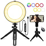 "Luce ad Anello Dimmerabile, MACTREM Ring Light 6"" con Treppiede E Supporto per Telefono Cellulare Luce Selfie Anello Modalità a 3 Luci per Trucco, Fotografia, Selfie e Video YouTube, Streaming Live"