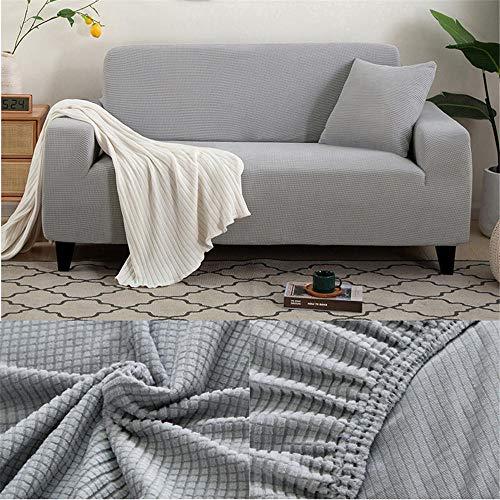 Sofabezug Grau Stretch Couch überzug Universal-Sofabezüge Wohnzimmer Jacquard Spandex Möbelschutz Hunde Haustierfreundliche Couch Schonbezug (195-230cm)