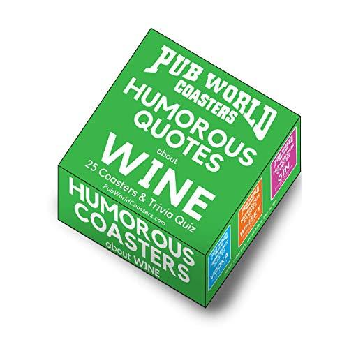 Juego de 25 posavasos de cartón de regalo con citas humorísticas diferentes sobre bebidas de vino – divertidos y extraños, con divertido trivial en los lados – de The Pub World Coaster Collections