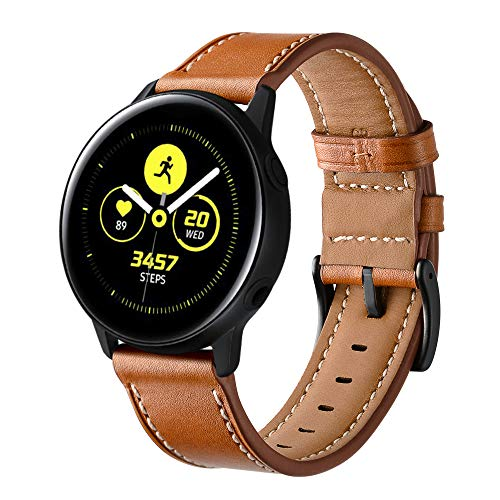 Myada Armband für Samsung Galaxy Watch Active 2 40mm und 44mm Armband Samsung Galaxy Watch 42mm Leder,Armbänder Samsung Gear Sport Armband Garmin vívoactive 3 Lederarmband Gear S2 Classic Ersatzband