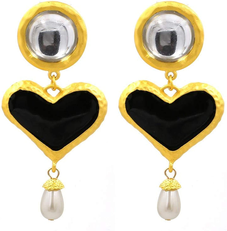 Women's Earrings Exaggerated Water Drops Heart Pendant Earrings Pearl Earrings Bohemian Black