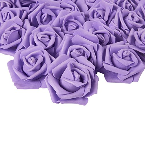 Rose Flower Heads - 100-Pack Artificial Roses, Perfect Wedding Decorations, Baby Showers, Crafts - Purple, 3 x 1.25 x 3 inches