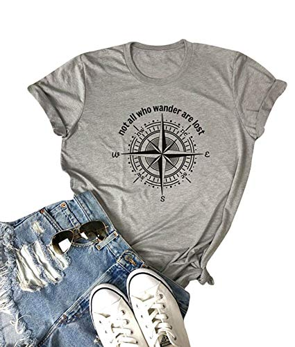 Not All Who Wander are Lost Women Travel T Shirt Compass Graphic Baseball Tee Short Sleeve Cotton Casual Tops (Grey, M)