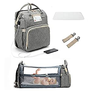 3 in 1 Travel Bassinet Foldable Baby Bed,Portable Diaper Changing Station Mummy Bag Backpack Crib, Portable Bassinets for Baby and Toddler,Travel Crib Infant Sleeper,Baby Nest with Mattress (aab4787)