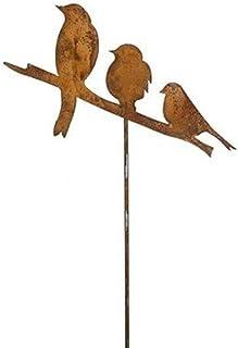Piquet de jardin avec 3 oiseaux 114 cm Grande décoration de jardin en métal avec patine effet rouille