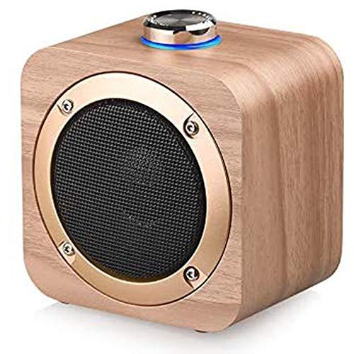 HBBOOI Retro Bluetooth Lautsprecher, Radio Aus Walnussholz Mit Klassischem Stil, Tragbares Radio Starke Bassverstärkung, Laute Lautstärke, Bluetooth 4.2, AUX TF-Karte Und MP3-Player
