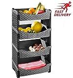 4 Tier Rattan Plastic Vegetable Fruit Rack Basket Kitchen Storage Shelves (Black & Silver)