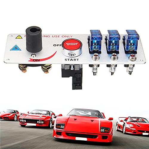 FRIBLSKEL Panel Interruptor Palanca Multifuncional Automóvil 12V 5 En 1 Botón Encendido Motor con Indicador LED Interruptor Basculante Barco Modificación para Camiones, Campista, Vehículos,Azul