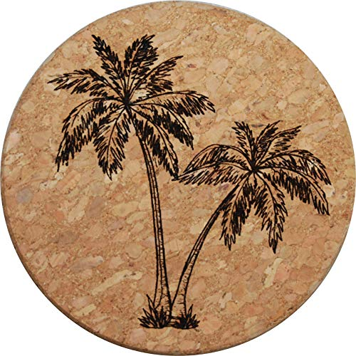 Doodle Gifts Round Cork Coasters, Palm Tree (Set of 4)