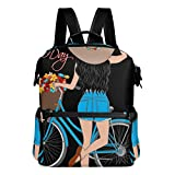 KIMDFACE Mochila,Chica Bicicleta Flores Ilustración Diseño,Bolsos para portátil Bolso de hombro con estampado informal estudiantes universitarios Viajes Senderismo Paquetes de camping(29*16*38 cm)
