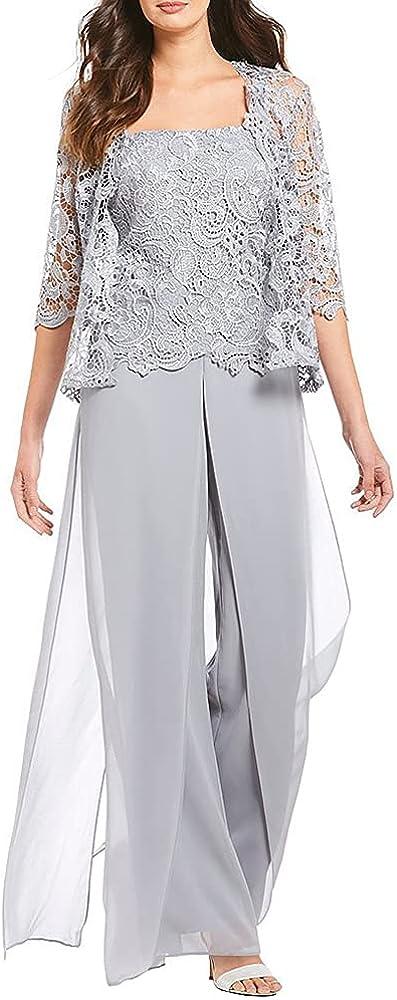 Genayge Wedding Guest Dressy Pant Suit Jumpsuit Shrugs 2 Pcs Suit