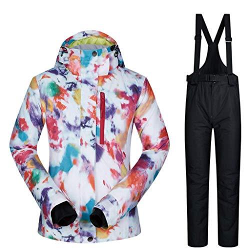 Zlw-shop Schneeanzüge Skianzug Winterbekleidung Mode Damen High wasserdicht Winddicht Snowboard-Bunte gedrucktes Ski-Jacke und Hose Skianzug (Color : Black, Größe : S)