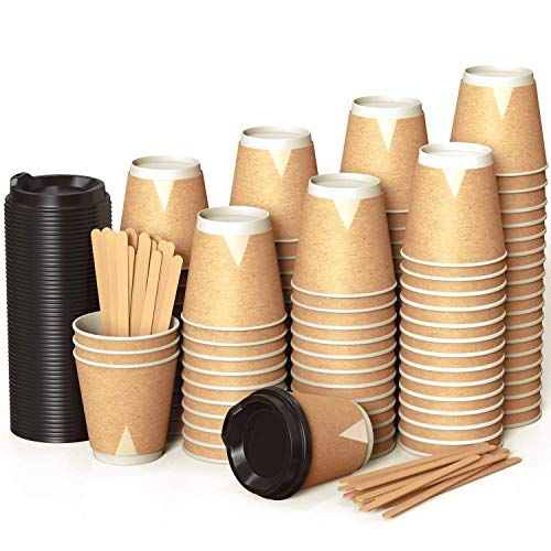 100 Kraft Vasos Desechables 240 ml de Doble Pared de Café para...