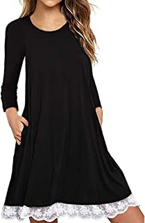 DEATU Womens Casual Dress, Ladies Long Sleeve Patchwork Lace Muti Size T Shirt Dress with Pockets