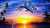 Diy Pintura Al Óleo Por Número Pintura De Caligrafía Pintura Acrílica Sobre Lienzo Para Niños Adultos Regalo Para La Decoración Delfines Saltando Al Atardecer 40X50Cm