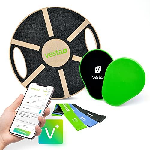Vesta+ Balance Board Holz + Fitness App + 3X Fitnessbänder + 2X Slider, Wackelbrett Balance Board Erwachsene Physiotherapie, Balance Trainer aus nachhaltigem Eichenholz, Der Balance Board Testsieger.