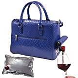 Primeware Insulated Drink Purse w/ 3L Bladder Bag | Thermal Hot and Cold Storage | Portable Drinking Dispenser for Wine, Cocktails, Beer, Alcohol | PU Leather Finish (Blue Burmese)