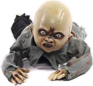 Fab-Life Animated Crawling Baby Zombie Scary Ghost Babies Doll Haunted Halloween Decor Props Supplies