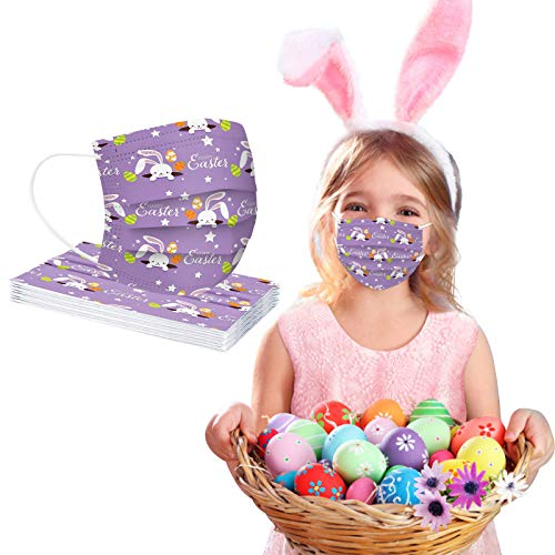 CawBing Easter Children Disposable_Face_mask_protection Soft Breathable 3 Ply Popular Easter Eggs and Rabbit Printing Face_mask_protection for Outdoor Anti-dust (10 Pcs)