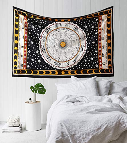 Madhu International Zodiac Mandala Tapestry Hippie Wall Hanging Astrology Tapestry Indian Handmade Tapestries Celtic Horoscope Tapestry Wall hanging (White Black, Twin(54x82Inches)(140x210cms))