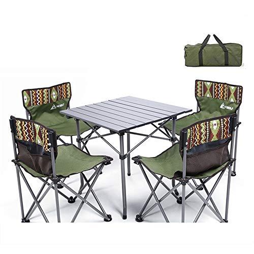 ETH Extérieur Table Pliante Portable 5 Sets Camping Hébergement Et Loisirs Chaises Forfait Combinaison sous-Champ Durable (Couleur : Black)