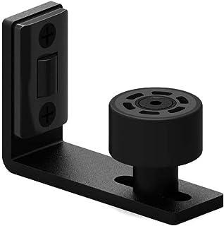 CCJH Adjustable Wall Mount Floor Guide Stay Roller for Sliding Barn Door 1 Piece Black (Adjustable Floor Guide)