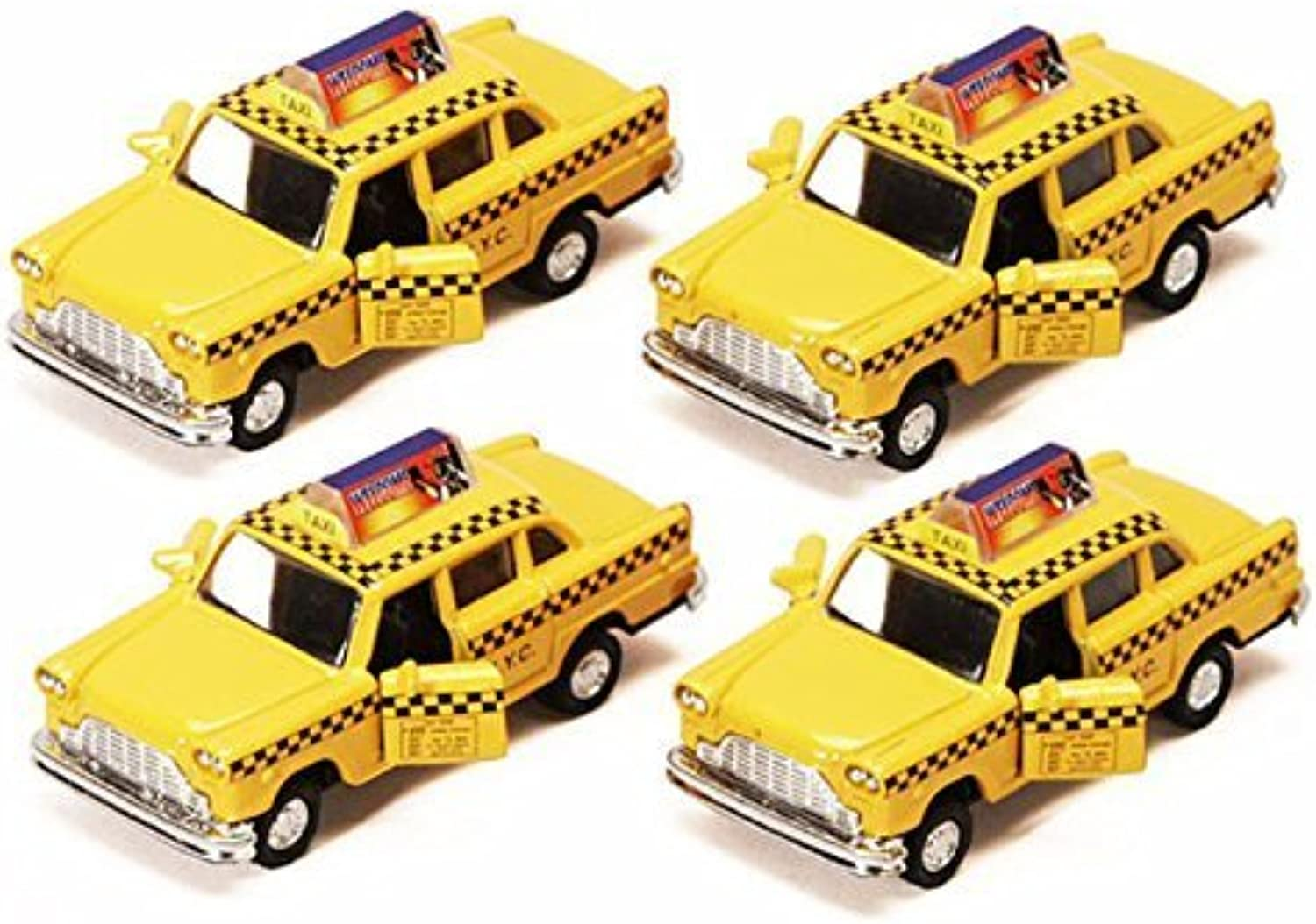 Old Fashion Yellow Checker NYC Diecast Taxicabs  Set of 4 by AGS