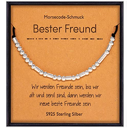 Suyi Freund Geschenke für Frauen Mädchen Sterling Silber Morsecode Armband für Best Friend Friendship Sister Soulmate Bester Freund