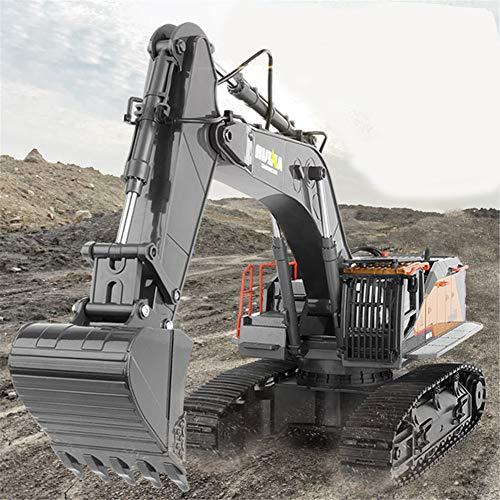 AKDSteel Hu-iNa 1:14 1592 RC Excavadora de aleación de 22 Canales Grandes RC Camiones de simulación Excavadora de Control Remoto vehículo Juguete para niños para Juguetes Regalos