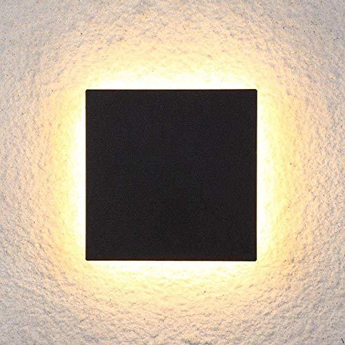 LBMTFFFFFF Novedad Lámpara de Pared con Soporte Luz Novedad Lámpara de Pared, Led Lámpara de Pared Cuadrada Negra Pasillo Dormitorio Comedor Sala de Estar Estudio Balcón Aluminio Acrílico Luz Amarill