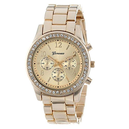 Uhrenarmband Damen Uhren Armbanduhr Casual Quarz Analoge Hand Edelstahl Armband Uhren Überwachung Watch Elegant Exquisit Uhr Rmbanduhr Uhr Leder-Armband Uhren Armbanduhren LMMVP (Gold)