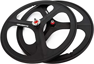 TBVECHI 700c 3-Spoke Single Speed Fixie Bicycle Black Wheel Front & Rear Set (Set of Front & Rear)