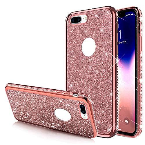 Carcasa para iPhone 8 Plus, ultrafina brillante con brillantes y brillantes, silicona de poliuretano termoplástico, marco cromado, carcasa para iPhone 8 Plus, oro rosa