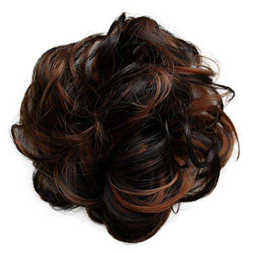 PRETTYSHOP Haarteil Haargummi Hochsteckfrisuren Brautfrisuren Voluminös Gelockt Unordentlich Dutt Braun Mix G39A