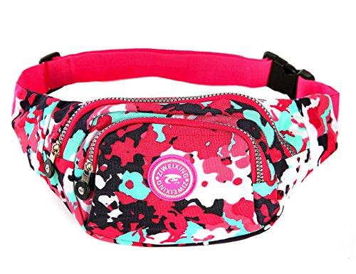 iSuperb® Praktisch Damen Bauchtasche Gürteltasche Hüfttasche mit 4 Reißverschlusstasche für Alltag Reise Festivals (Lila mit Blumen)