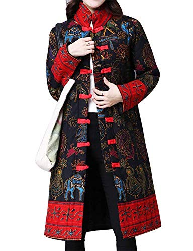 IDEALSANXUN Women's Cotton Linen Vintage Floral Print Lightweight Trench Coat Long Button Down Jacket Robe (Medium, 2 Black(Oracle))