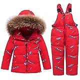CARETOO Conjunto de ropa de plumas para bebé, niña y niño, unisex, chaqueta de invierno y pantalón de invierno con capucha de pelo sintético. rojo-3 90 cm